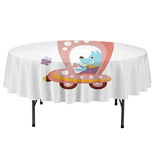 Douglas Hill Dog Driver Printed Round Tablecloth Cartoon Car Puppy Spring Flowers Pastel Butterfly Fantasy World of Children Desktop Protection pad D47 Inch Multicolor