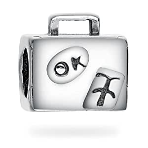 Silver Travel Suitcase Bead Charm Collection Fits Women's Charm Bracelets