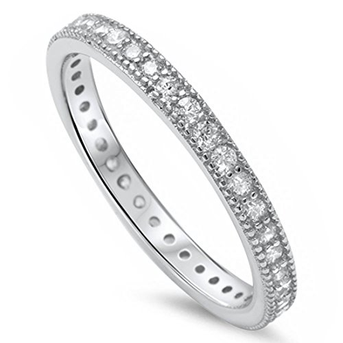 Blue Apple Co. 3mm Full Eternity Band Ring Milgrain Edge Solid 925 Sterling Silver Round Cubic Zirconia