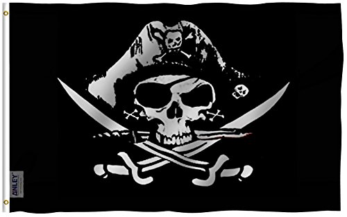 Anley Fly Breeze 3x5 Foot Dead Man's Chest Flag - Vivid Color and UV Fade Resistant - Canvas Header and Double Stitched - Pirate Flags Polyester with Brass Grommets 3 X 5 Ft… (Pirate Fabric Flag)