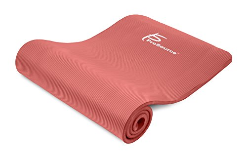 ProSource Premium 1/2 Inch Extra Thick 71 Inch Long High Density Exercise Yoga Mat with Comfort Foam and Carrying Straps, Red, Frustration Free Packaging