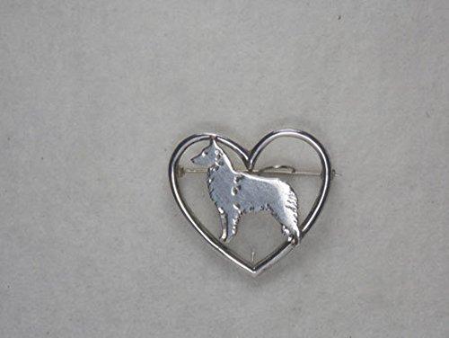 Sterling Silver Belgian Tervuren Dog Charm in Heart