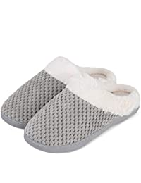 Women's Memory Foam Slippers Comfort House Slippers Plush Lining Anti-Skid House Shoes for Indoor & Outdoor