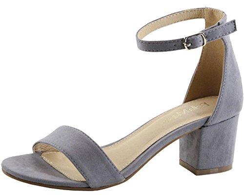 (Bella Marie Women's Strappy Open Toe Block Heel Sandal (8.5 B(M) US, Grey)