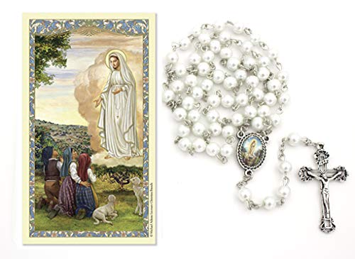 Our Lady of Fatima White Pearl Rosary and Prayer Card Gift Set (Includes White 6mm Pearl Rosary Necklace with Silver Tone Crucifix and Our Lady of Fatima Medal Centerpiece and Our Lady of Fatima Lam (Novena Prayer To Our Lady Of Fatima)