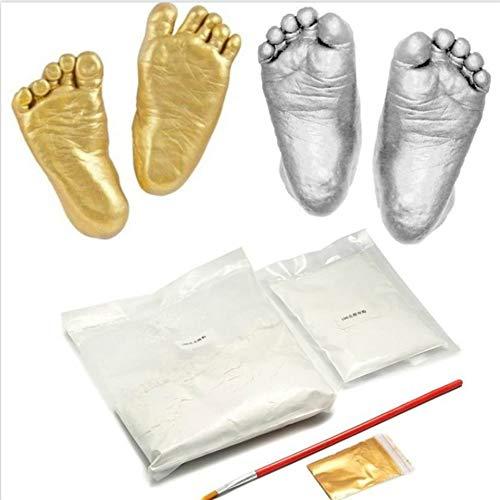 100g de moldeo de yeso en polvo Clon en polvo Mini kit Ni/ños Beb/é Huellas de manos Huellas Huellas de manos y pies Proceso de consolidaci/ón Plata