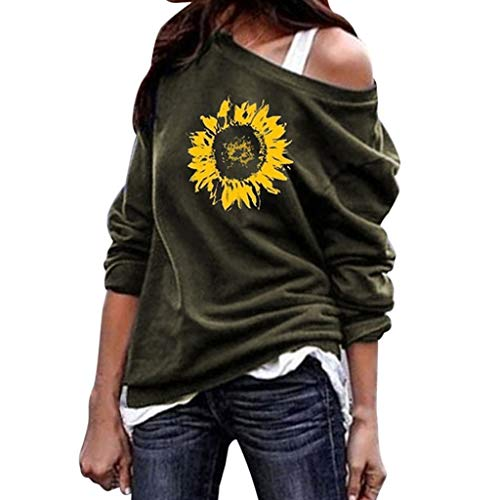 Franterd Women Blouses Shirt Autumn Casual Loose One Shoulder Sunflower Off Shoulder Long Sleeve Tops Pullover Sweatershirt