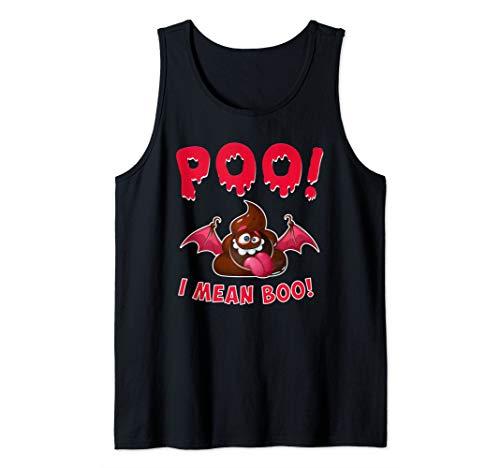 Poo I Mean Boo Funny Halloween Poop Emoticon Tank Top