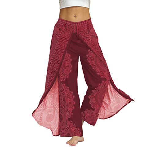 RIUDA Women Casual Loose Yoga Trousers Baggy Boho Jumpsuit Pants Wide Leggings Hot Pink