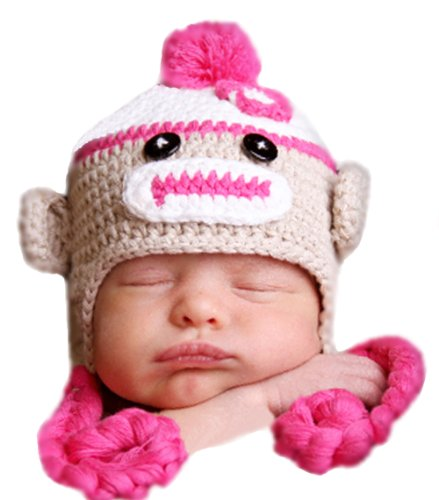 Melondipity Sweet Sock Monkey with Braids Baby Hat Pink 12-24 months (Soooo Sweet)