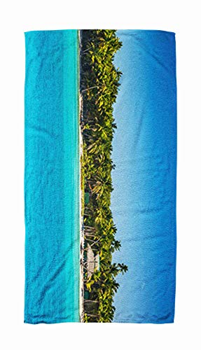 EMMTEEY Bath and Beach Towel,Panoramic Ocean Palm Tree Childrens Beach Trees on The Tropical Republic Dominican 30x60Inch Microfiber Oversized Large Quick Dry Swimming Pool Towel,Gold Black