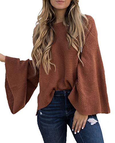 (HZSONNE Women's Casual Kimono Bell Sleeve Patchwork Stripe Loose Fit V Neck Pullover Sweater Knitted Tops Blouse Cardigan Brown)