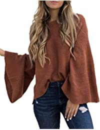 dd83ea0fa5 Women s Casual Kimono Bell Sleeve Patchwork Stripe Loose Fit V Neck  Pullover Sweater Knitted Tops Blouse
