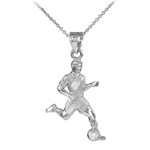 14k White Gold Soccer Player Futbol Sports Charm Pendant Necklace, 22