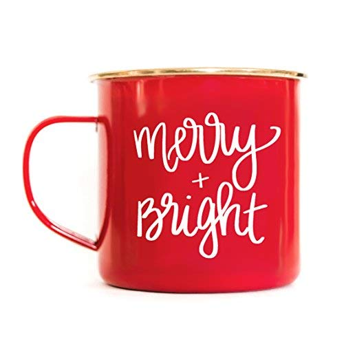 Merry and Bright Campfire Mug | Large Red Tea-Cup Coffee Lover Christmas Gift For Her Seasons Greetings Holiday Accessories Stocking Stuffer Winter Decorations