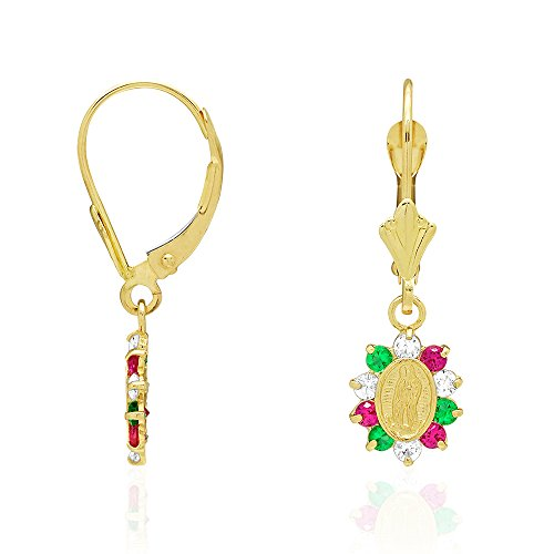 14k Yellow Gold Simulated Ruby, Emerald & CZ Multicolor Gemstone Halo Virgin Guadalupe Oval Dangle Leverback Earrings 1'' by WJD Exclusives
