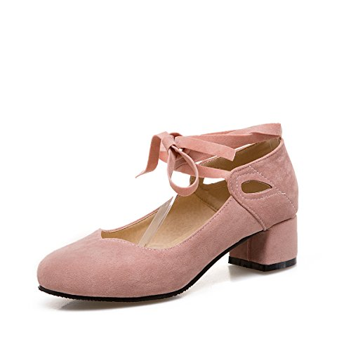 GAOLIM Primavera Scrub Reposapiés Correa Superficial De Cabeza Redonda Boca Solo Zapatos Con Gruesas Con Adolescentes Rosa