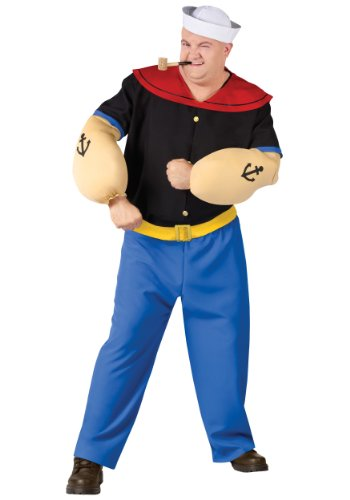 FunWorld Men's Popeye Costume-Plus, Black and Blue,