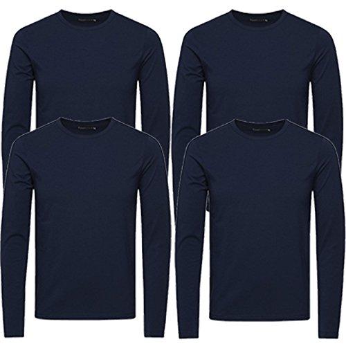 Homme Uni shirt Jones Col Jack Longues À Rond T Pack amp; Blau Manches 4er HpxZvqUx