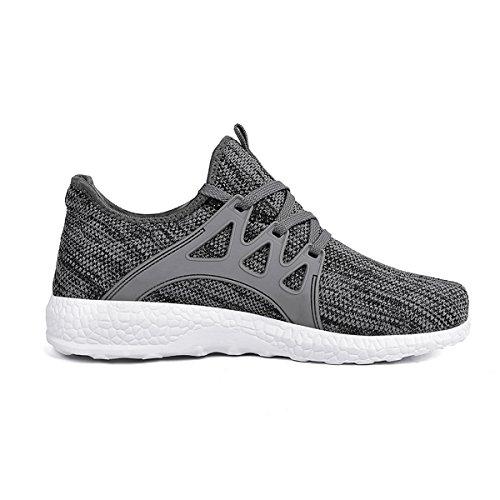 Feetmat WomensSneakersUltraLightweightBreathableMeshAthleticRunningShoesPlusSize 9 Grey/Whit
