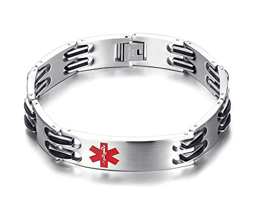 Stainless Steel Silicone Classic Link Chain Medical Alert ID Bracelet for Men, Free Engraving