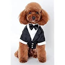 "Pet Leso® Black Dog Tuxedo Suit Puppy Wedding Clothes Coat Doggie Costume #4 - Chest:20"" Neck:14"" Back Length:13.5"""