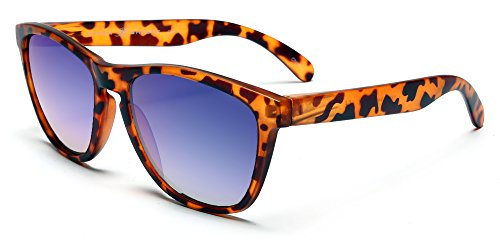 Samba Shades New Don and Audrey Form Wayfarer Sunglasses with Brown Tortoise Shell Frame, Blue Mirror - Shell New Tortoise Wayfarers