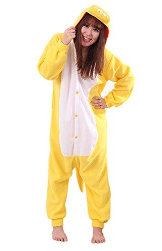 Honeystore Unisex New Dinosaur Animal Cosplay Costume Onesies Pajamas Halloween Yellow L]()