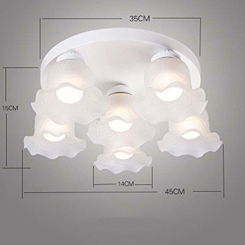 QAZSE Flower Glass Living Room Bedroom Small Restaurant Study Ceiling Lighting / 3 Lamp / 6 Lamp, 6 Heads