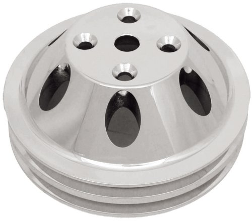 CSI C9483 Polished Aluminum Water Pump Pulley, Double Groove Long Water Pump, Upper, Chevy Small Block 283-350 Engines (Pulley Aluminum Chevy)