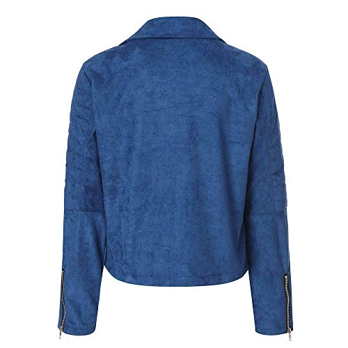 Parka Zipper 3xl Taille Zhrui Couleur Bleu Bomber Casual Femme Rétro Manteau Outwear Veste Survêtements Rivet qx48X6