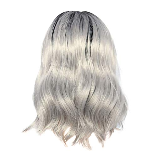 Jaromepower 16'' Silver Wigs Grey Lace Front Wigs for Women Black Rooted Silver Grey Hair Wig Natural Weave Long Wigs Fashion Front lace Wig Short Wave Gray Looking Ombre Curly Wigs