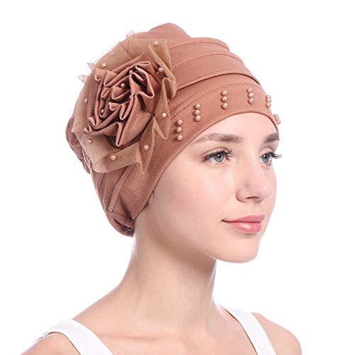 Londony Hats & Caps,Women Beading India Hat Muslim Ruffle Cancer Chemo Beanie Scarf Turban Wrap Cap from Londony
