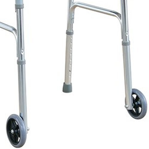 """Deluxe Folding Walker with 5"""" Front Wheels Height Adjustable One Button Release by Tulimed"""