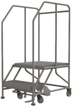 Tri-Arc WLWP122424SL 2-Step Forward Descent Mobile Steel Work Platform with Handrails, Step Lock, 24-Inch x 24-Inch Platform