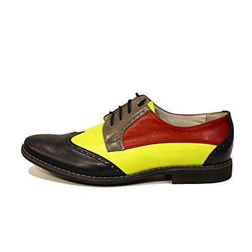 Modello Caramella - Handmade Italiano Da Uomo In Pelle Colorato Scarpe da Wingtip - Vacchetta Pelle morbido - Allacciare