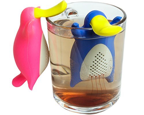 Happy Platypus Couple Tea Infusers- Funny Loose Leaf Tea Infuser, Strainer-Deep Tea Mug/ Cup Infuser- Great For Herbal Tea Or Mulling Spices-Top Quality Food Grade Silicone- Great Tea Gift Set Idea by Creatorstudio (Image #1)