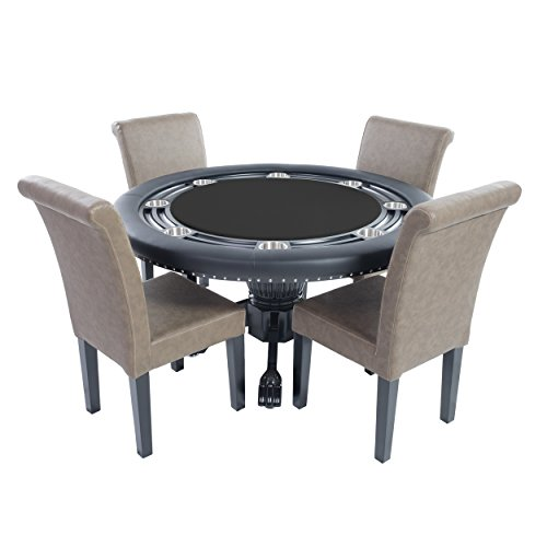 BBO Poker Nighthawk Poker Table for 8 Players with Speed Cloth Playing Surface, 55-Inch Round, Includes 4 Dining or Lounge Chairs
