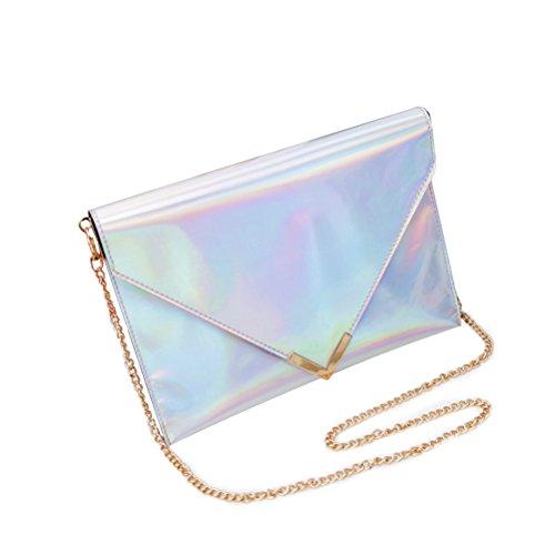 Sac hologramme femmes soirée bandoulière OULII fille Clutch à sac de Argent chaîne main w8q4O6dqS