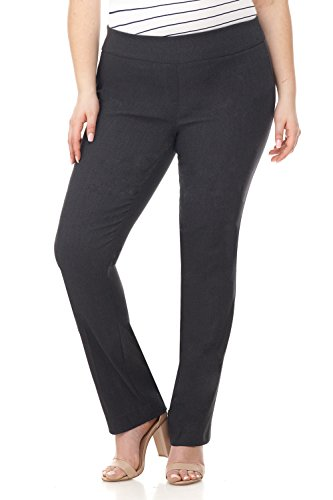 Rekucci Curvy Woman Plus Size Modern Straight Leg Pant w/Tummy Control (16W,DK Charcoal) ()