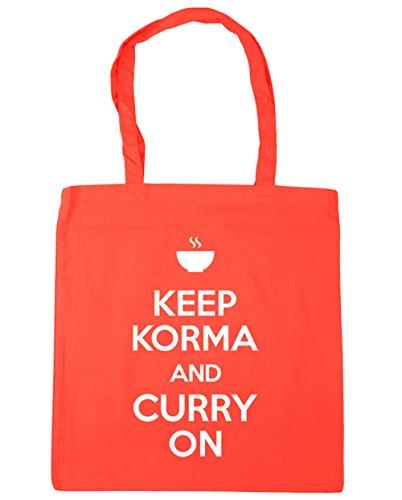 HippoWarehouse Keep Korma y Curry en Tote Compras Bolsa de playa 42cm x38cm, 10litros, rojo clásico (rojo) - 21424-TOTE-Classic Red coral
