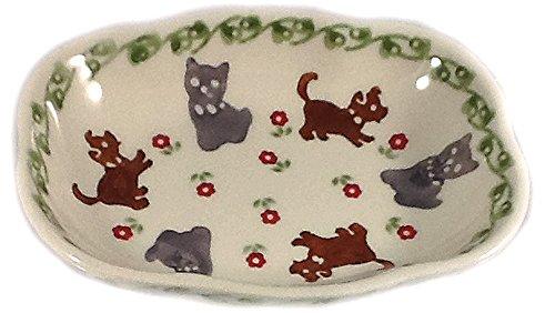 Manufaktura Polish Pottery Soap Dish, Ring Holder Condiment Bowl in DKOT Cats Dogs ()