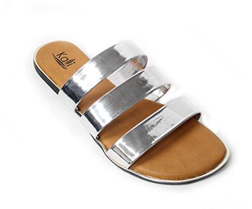 Kali Footwear Women's Triple Strap Gladiator Slide Sandal Silver, 7
