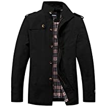 Wantdo Mens Stand Collar Cotton Classic Jacket