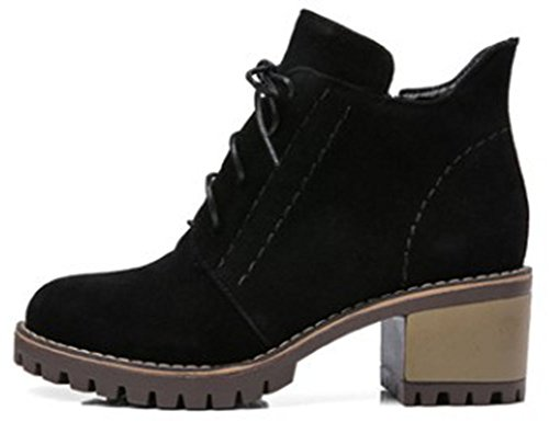 IDIFU Women's Stylish Mid Chunky Heel Lace Up Faux Suede Ankle High Booties - stylishcombatboots.com