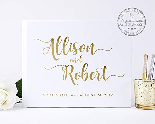 White Wedding Guest Book, Polaroid Photo Album Instax Booth, Personalized with Names, Custom Guestbook - Hardcover (10x8 inches)