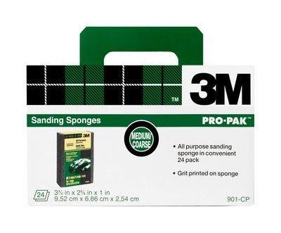 3M Sanding Sponge, Medium/Coarse Grit, 3.75-Inch by 2.625-Inch, 24-Pack by 3M