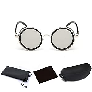 Hot Mens Womens Steampunk Retro Style 50s Silver Frame Round Gray Mirror Lens Glasses Blinder Sunglasses for Steampunk Costume Outfit Cosplay Themed Wedding Birthday