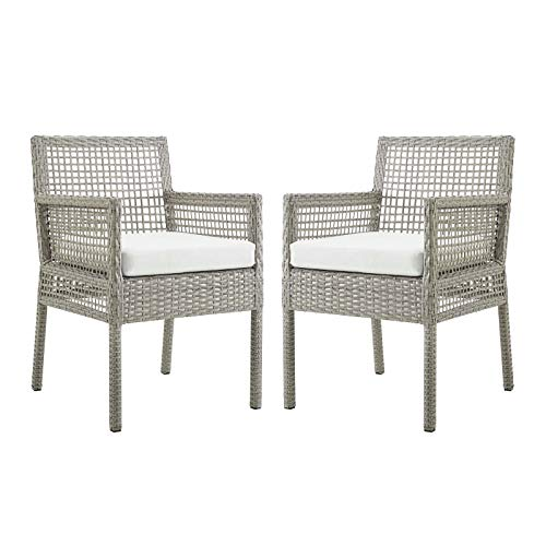 Modway Aura Wicker Rattan Outdoor Patio Two Dining Arm Chairs in Gray White