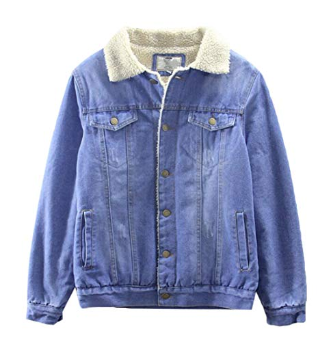 (KLJR Men Fleece Lined Denim Jacket Fur Collar Quilted Jean Coats Outwear Light Blue US)